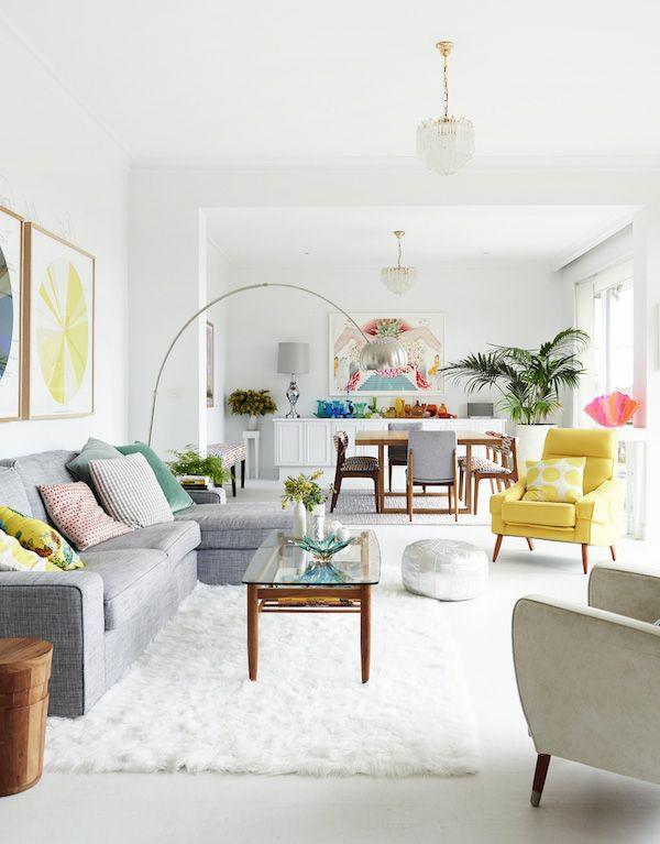moderneWohnzimmereinrichtung Ideen stylisch tipps sessel gelb