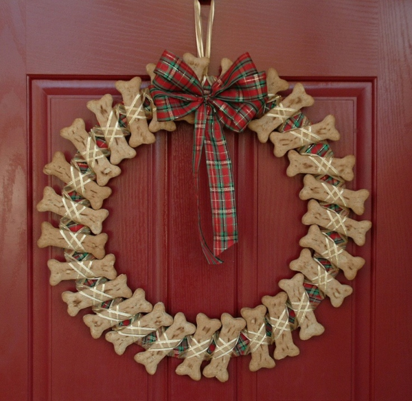 moderner adventskranz ideen plätzchen türkranz weihnachten