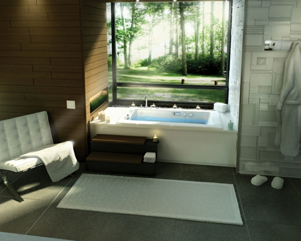 Modernes badezimmer ideen wie sie die natur n her for Fenster badezimmer gestalten