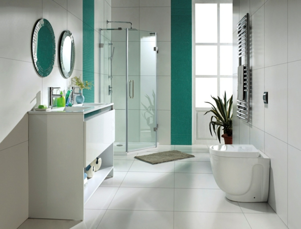 modernes badezimmer ideen blaugrüne fliesen