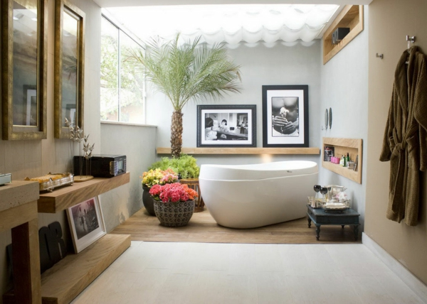modernes badezimmer ideen palme