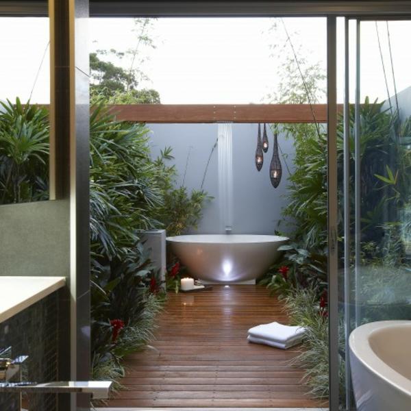 modernes badezimmer ideen draußen