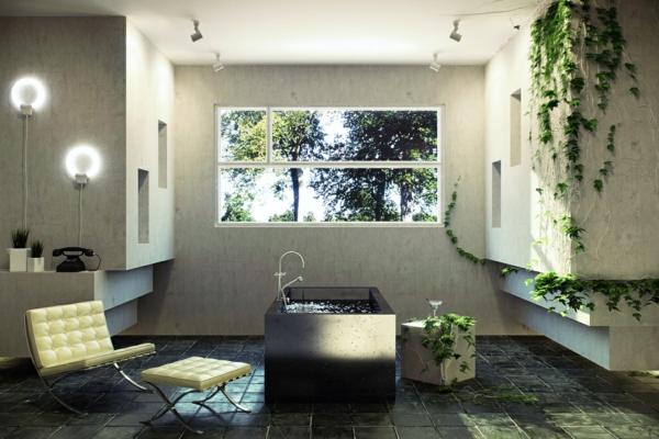 modernes badezimmer ideen efeu pflanzen