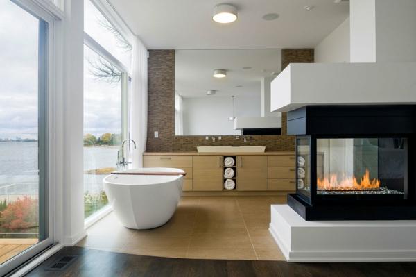 modernes badezimmer ideen feuerstelle