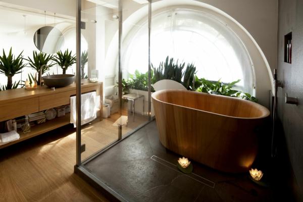modernes badezimmer ideen freistehende wanne holz