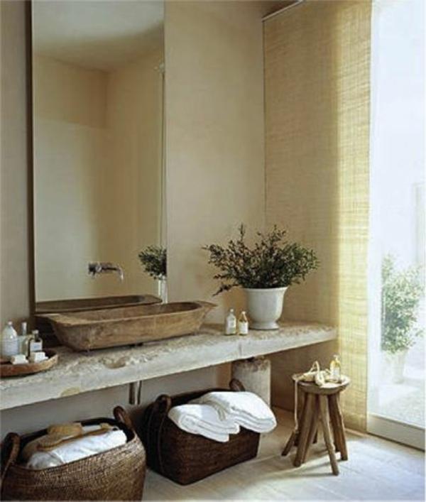 modernes badezimmer ideen grüne pflanzen