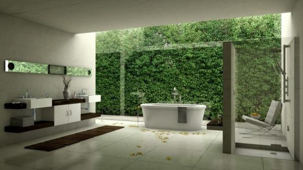 modernes badezimmer ideen grüne wand