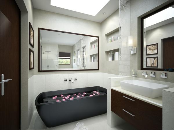 modernes badezimmer ideen schwarze badewanne
