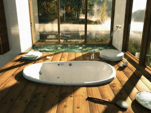 modernes badezimmer ideen teich lotosblumen