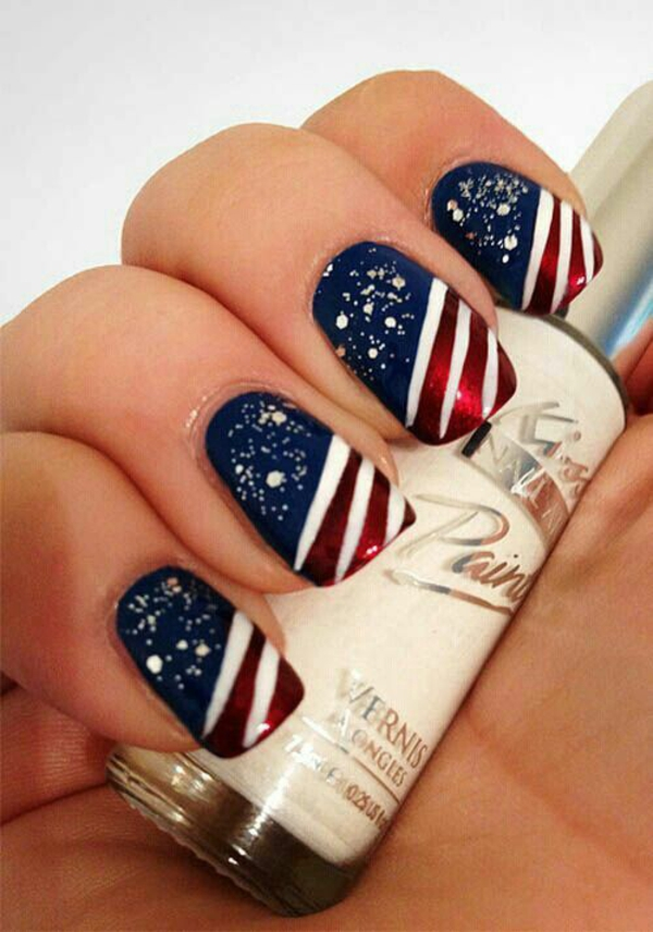 fingerngel design amerikanische flagge nageldesign muster - Fingernagel Lackieren Muster