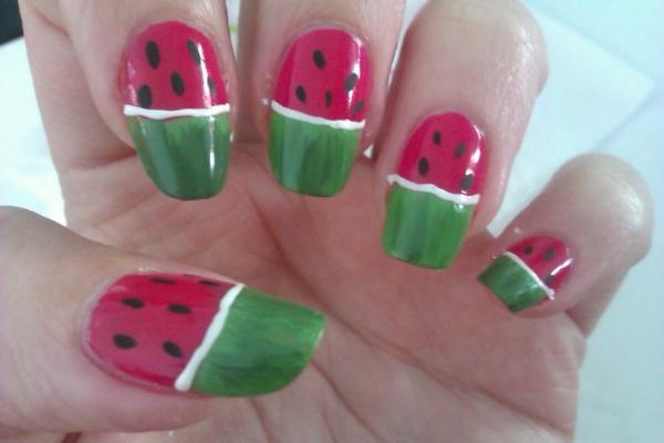 fingernägel design wassermelone