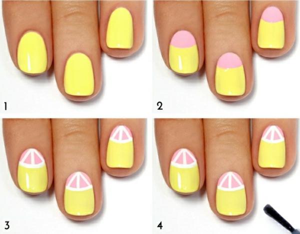 nailart thema meer sommerurlaub nageldesign bilder gelb wassermelone muster