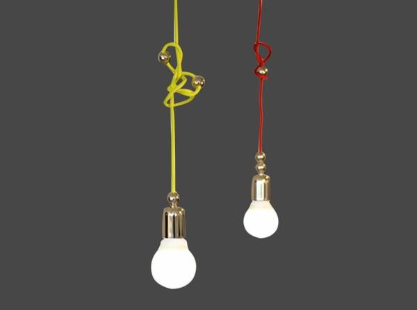 pendelleuchten glühbirnen neonfarbene kabel
