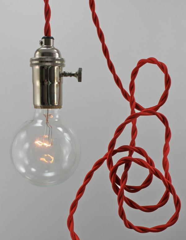 pendellampen glühbirnen rotes kabel