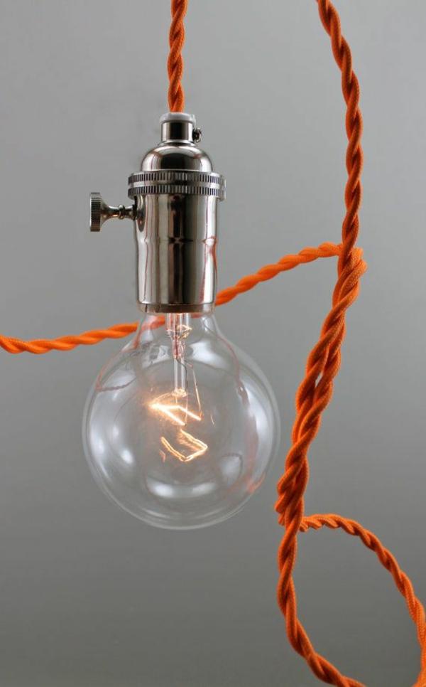 lampen modern led hängeleuchte orange seil