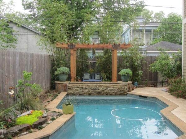 pergola dach terrassenüberdachung bambus pool