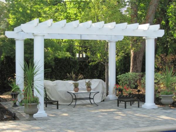 pergoladach terrassenüberdachung klassisch weiß