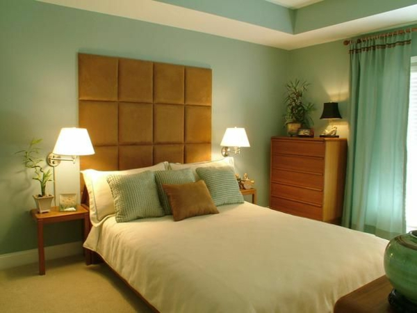polsterbett feng shui schlafzimmer einrichten wandfarbe grün