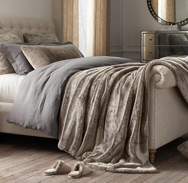 polsterbett grau beige farbtöne feng shui schlafzimmer einrichten