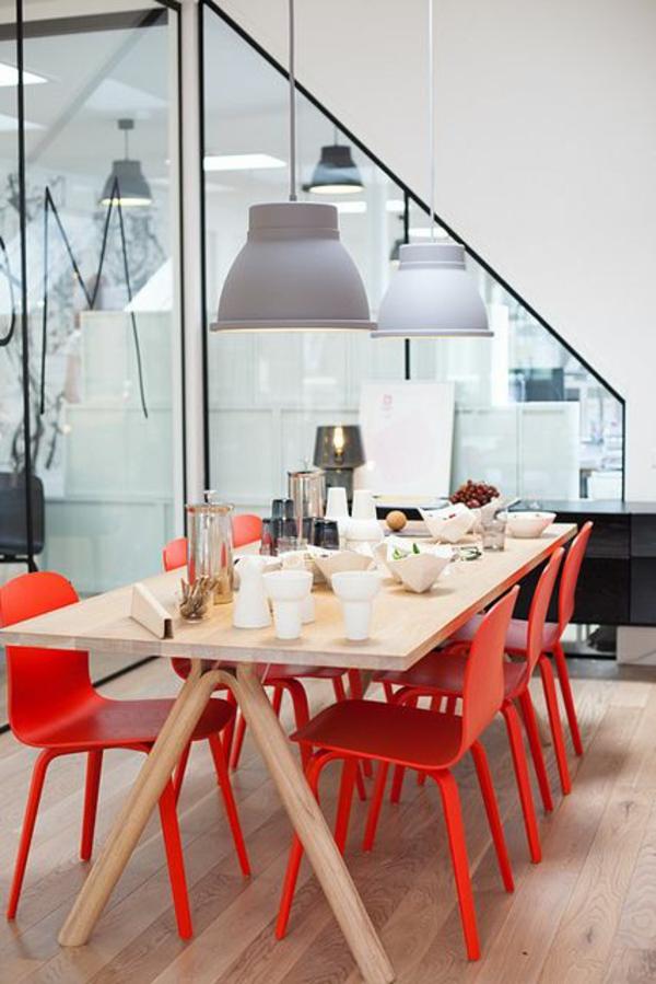 raumtrenner glas trennwand modern esszimmertisch mit stühlen