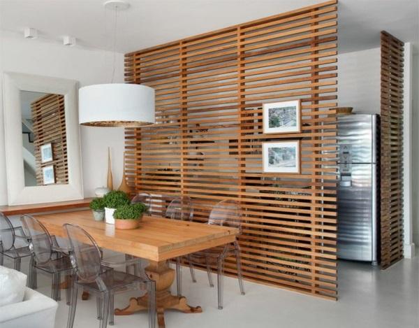wohnzimmer raumteiler tv: ideen trennwand aus holz küche und esszimmer trennen raumteiler