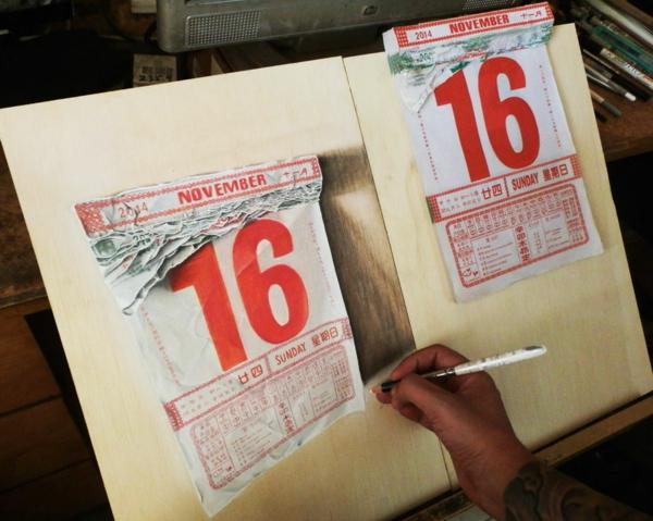 realistische Zeichnungen Holz datum kalender