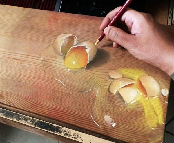 realistische Zeichnungen auf Holz eier