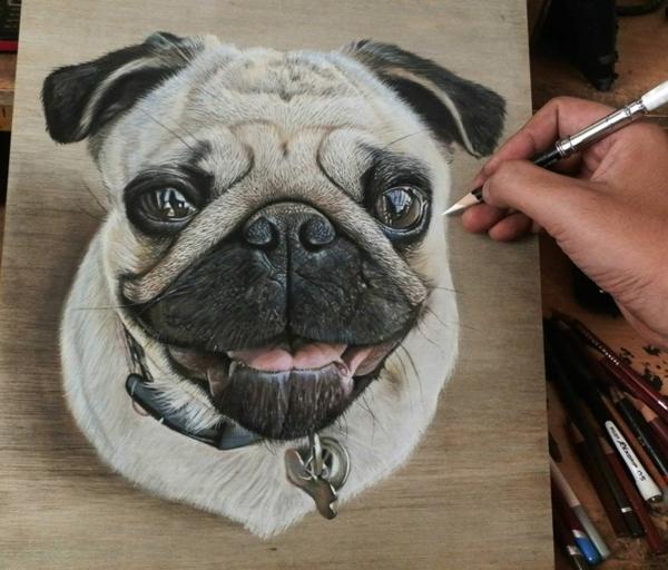 realistische mops Zeichnungen auf Holz hund