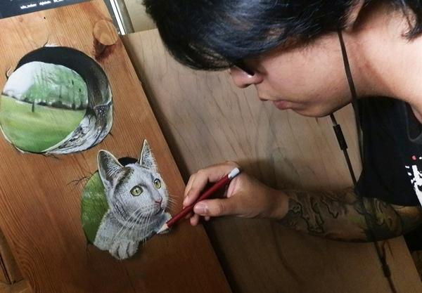 realistische Zeichnungen katzen Holz spüle