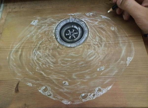 Zeichnungen auf Holz wasser spüle