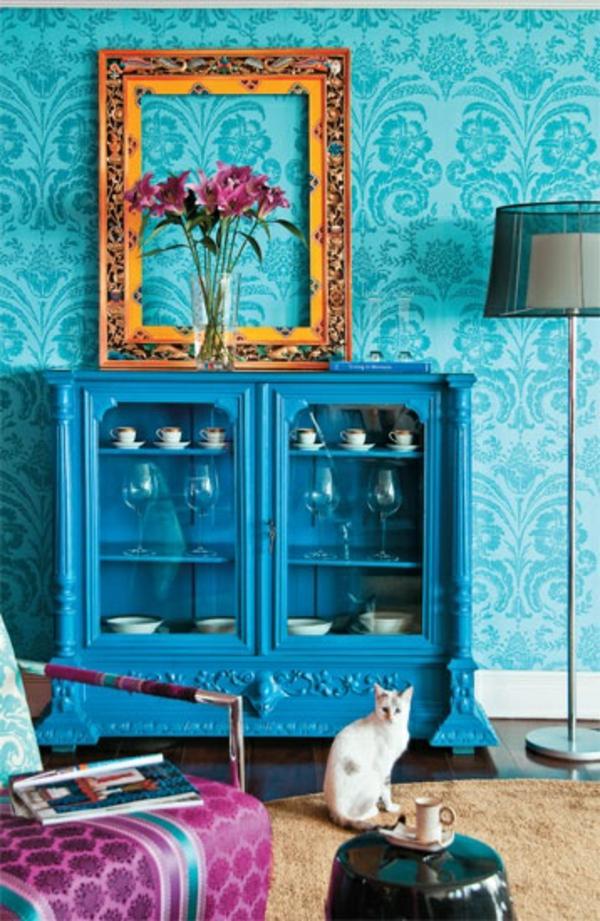 retro möbel einrichtung wohnen blau kommode