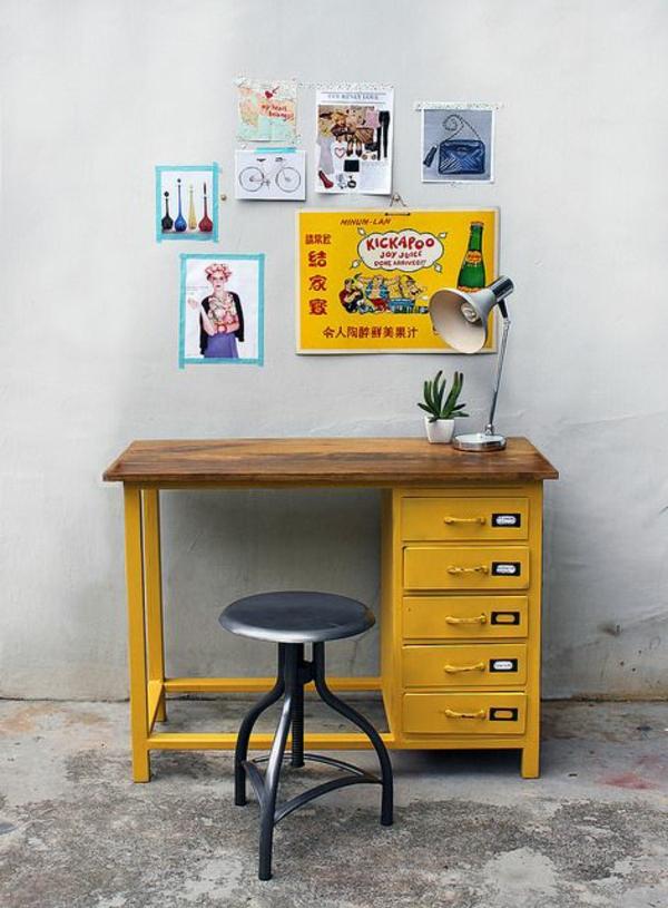 retro möbel einrichtung wohnen gelb schreibtisch