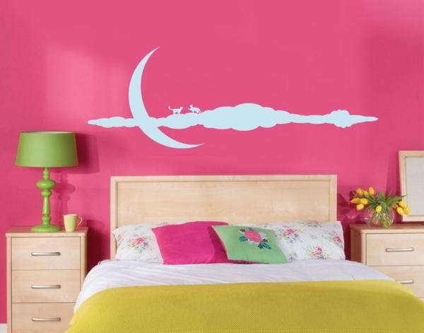 rosa schlafzimme wandtattoo