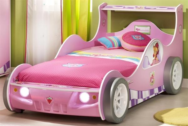 rosa schlafzimmer auto bett