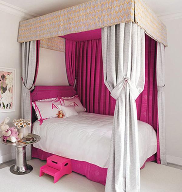 rosa schlafzimmer betthimmel pink