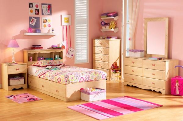 rosa schlafzimmer bunte bettwäsche