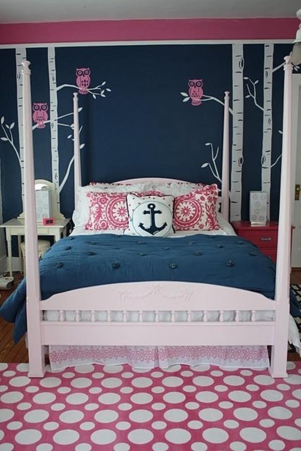 schlafzimmer dunkelblau anker kissen
