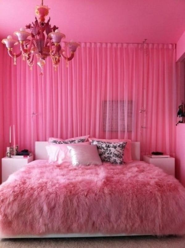 rosa schlafzimmer felldecke