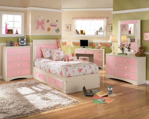 rosa schlafzimmer grüne wände