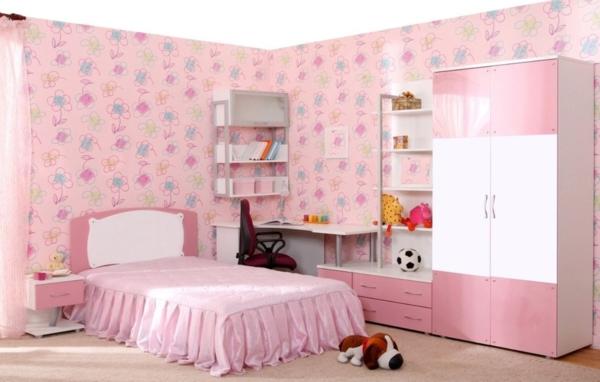rosa schlafzimmer hochglanz schränke weiß