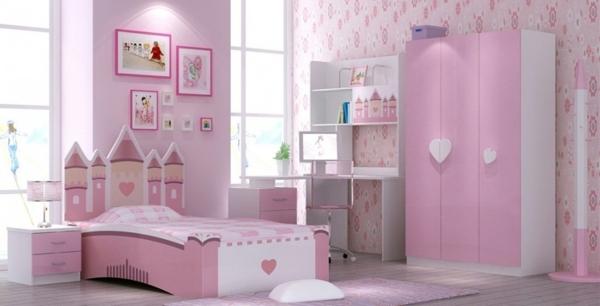 rosa schlafzimmer kopfteil schloss