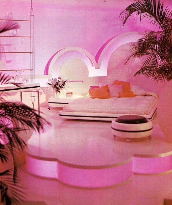 rosa schlafzimmer lichter orange kissen