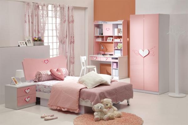 Rosa Schlafzimmer Orange Weiß Akzentwand