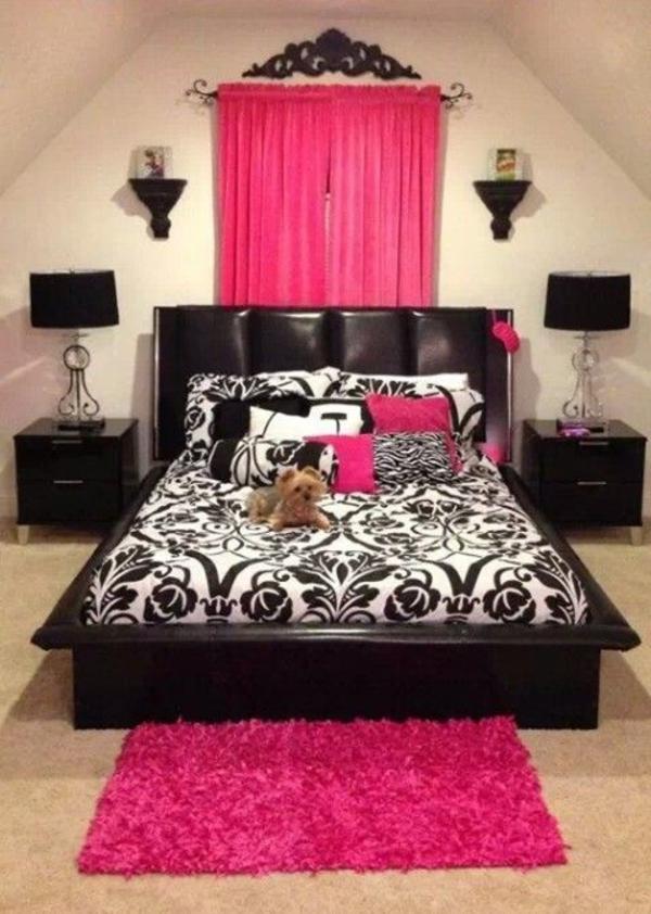 rosa schlafzimmer schwarz weiß
