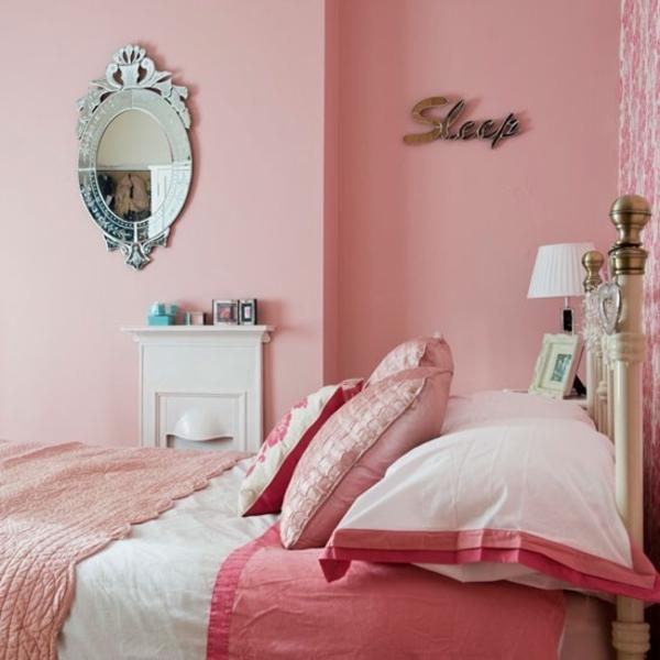 rosa schlafzimmer steppdecke kissen