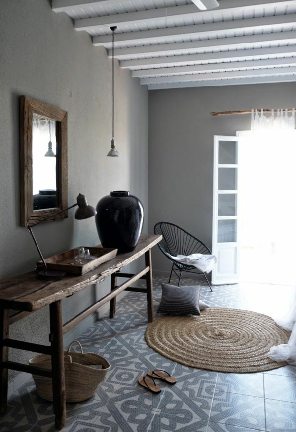 rustikale einrichtungsideen wohnzimmer landhausstil rattanmöbel holzmöbel