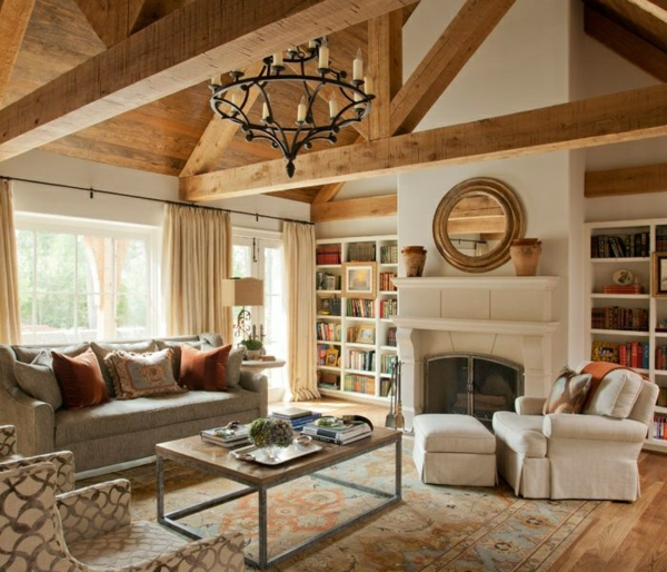 rustikale möbel einrichtungsideen wohnzimmer landhausstil kronleuchter mit kerzen