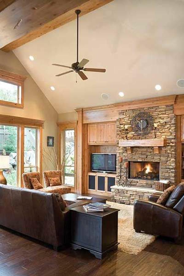 rustikale möbel einrichtungsideen wohnzimmer rustikal ledersofa teppich