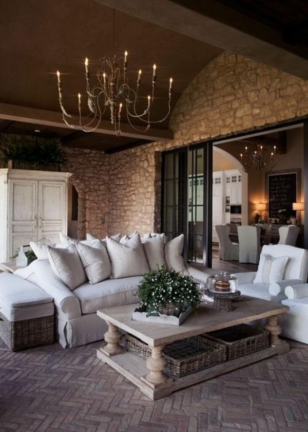 rustikale möbel steinwand wohnzimmer rustikal