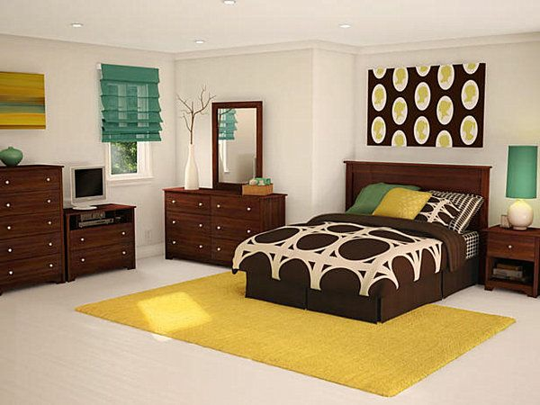 schlafzimmer modern gestalten jugendzimmer gelb teppich